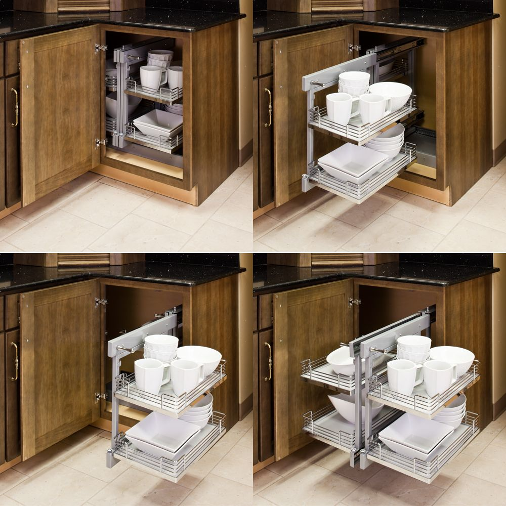 Kitchen corner cabinet wasted space - Blind Corner Organizers Get Use Out Of The Empty Wasted Space In Your Blind Corner Kitchen Cabinet
