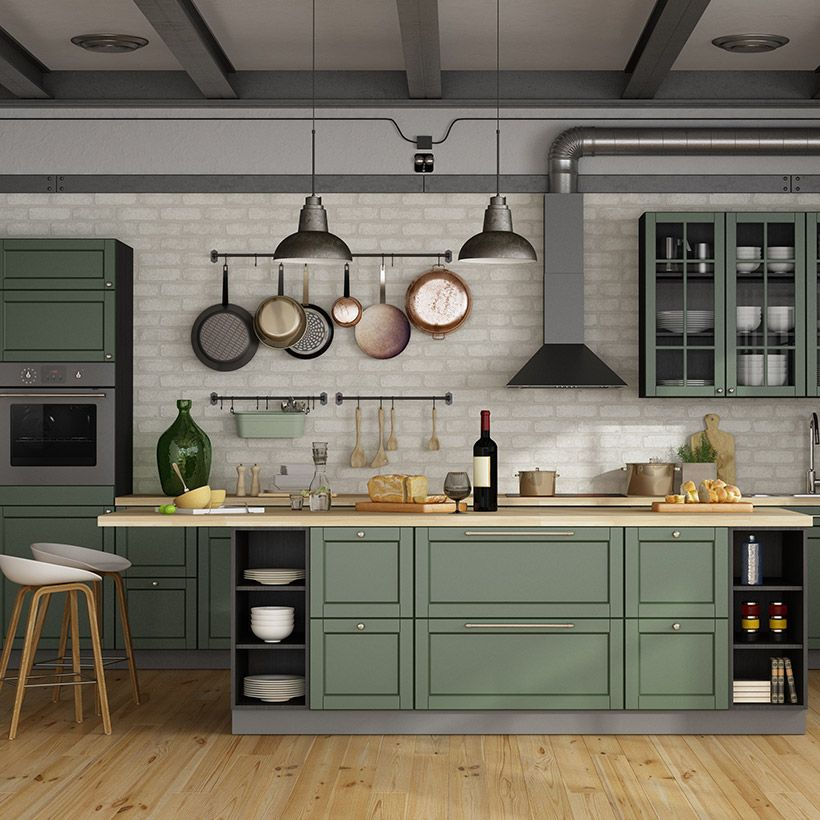 Small kitchen design indian style with vintage green ...