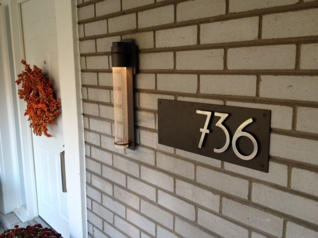 Midcentury Address Plaque with Dark Bronze plaque and stainless
