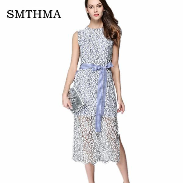 199df03740 FuzWeb SMTHMA High quality women sleeveless Patchwork stripe Lace Dress