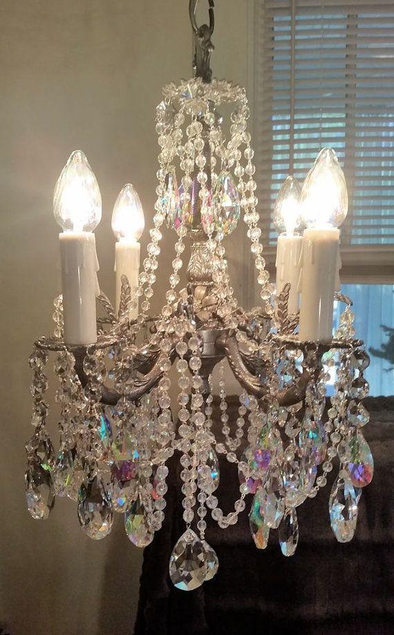 Vintage jeweled aurora borealis crystal and pewter brass petite vintage jeweled aurora borealis crystal and pewter brass petite chandelier aloadofball Images
