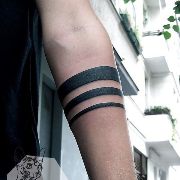 Black And White Geometric Minimalist Tribal Forearm Tattoo On
