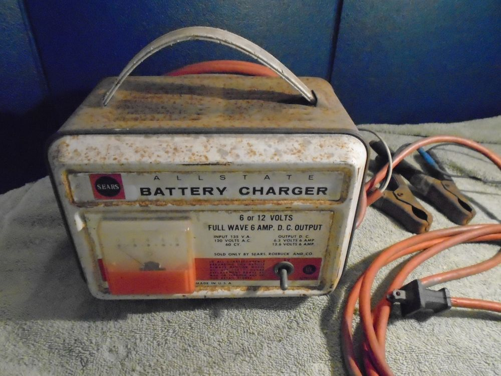 Vintage Sears Allstate Battery Charger 6 12 V 6 Amp Battery Charger Battery Charger Charger Battery