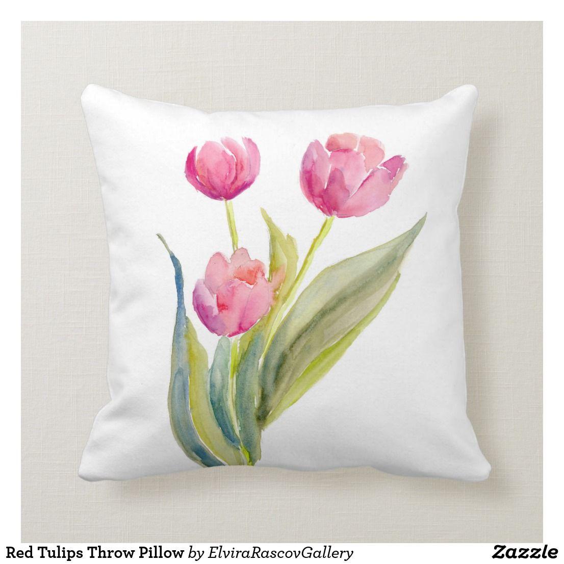 Red Tulips Throw Pillow Zazzle Com In 2020 Tulip Decor Throw Pillows Flower Throw Pillows