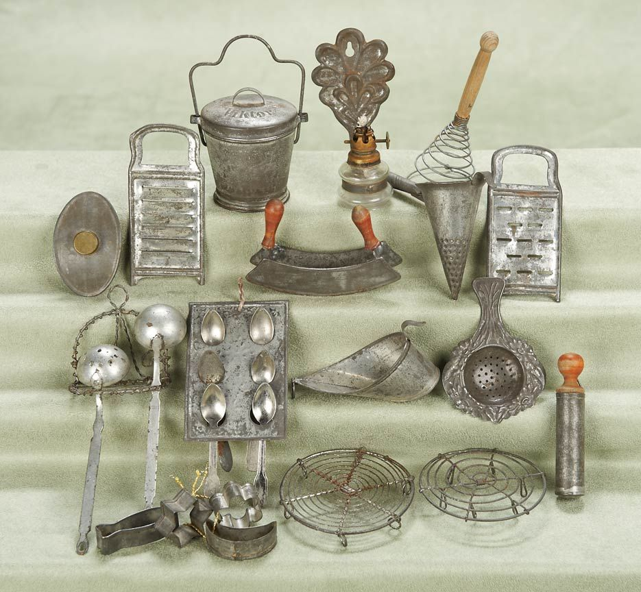 German Kitchen Tools: German Miniature Kitchen Tinware,late 19th Century. Pieces