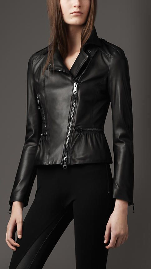4c416bae249fc Burberry London Peplum Leather Jacket