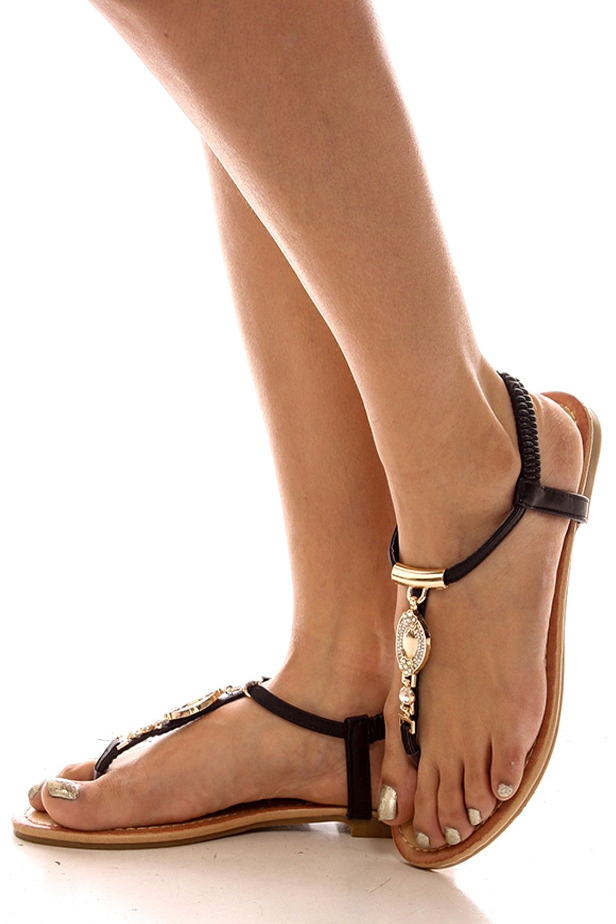 d9780ff919bd32 BLACK FAUX LEATHER T-STRAP TOP STRAP JEWEL DESIGN FLAT SANDAL