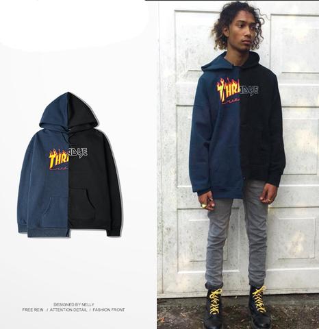 Black with blue hoodies