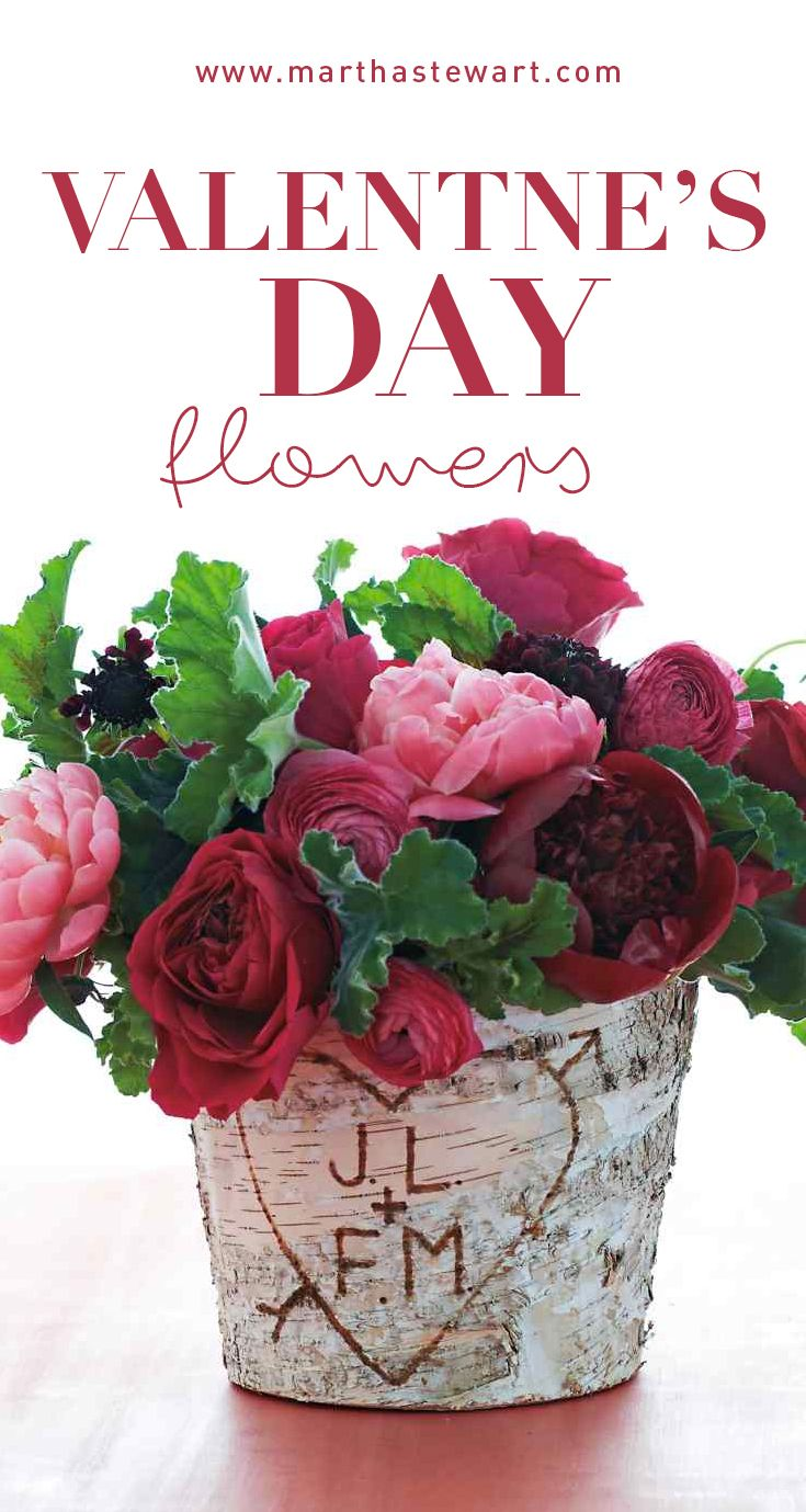 Valentine's Day Flowers | Martha Stewart Living - Use a birch-bark vase and a wood-burning tool to mimic the romance