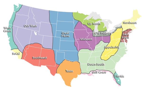 Regions Of The United States Map Us History United States Map