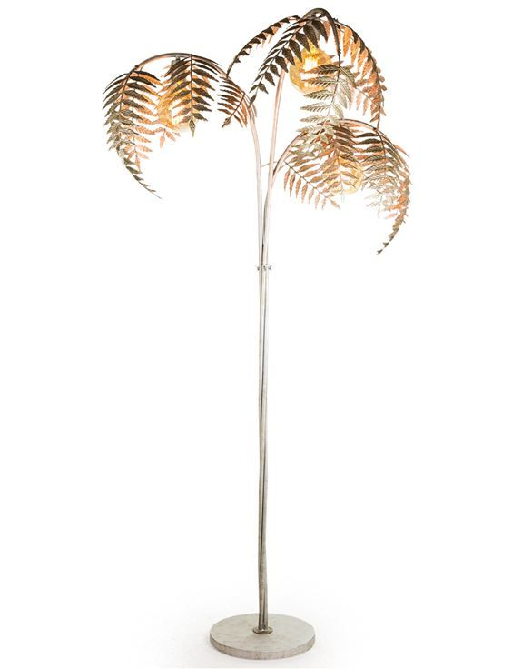 Antique Silver Palm Leaf Floor Lamp In 2020