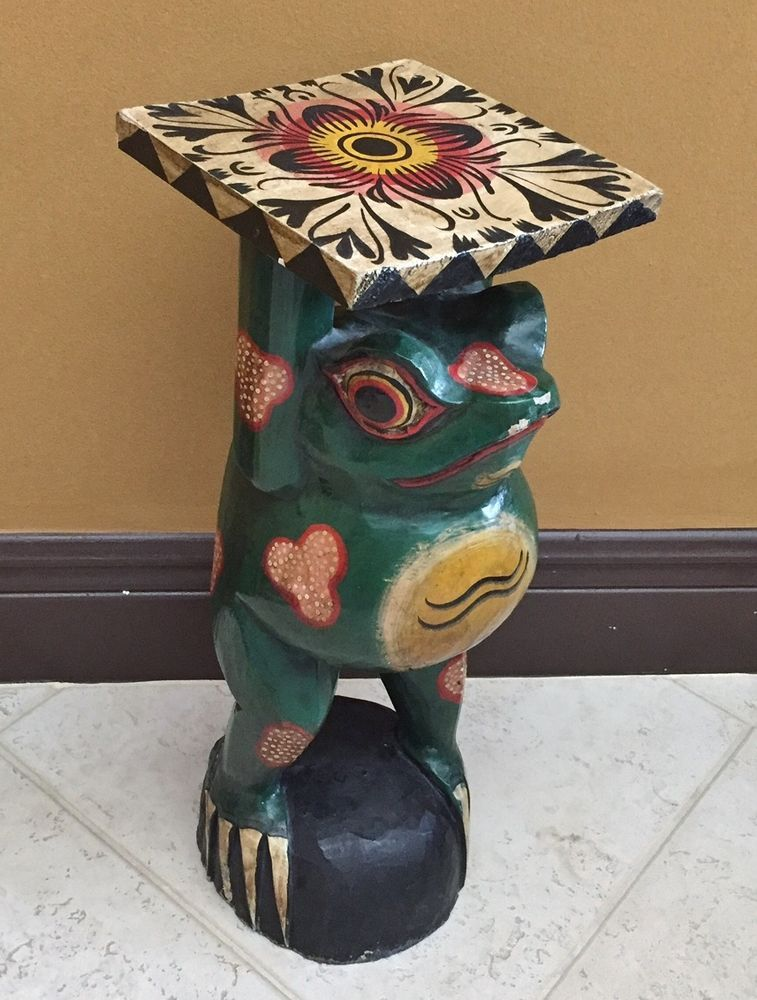 Hand Carved Painted Wood Frog Sculpture Table Pedestal Figure Statue Folk Art