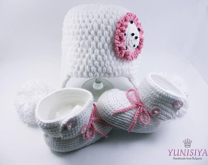 Crochet bebé conjunto bebé ganchillo sombrero bebé niña botines niña ...