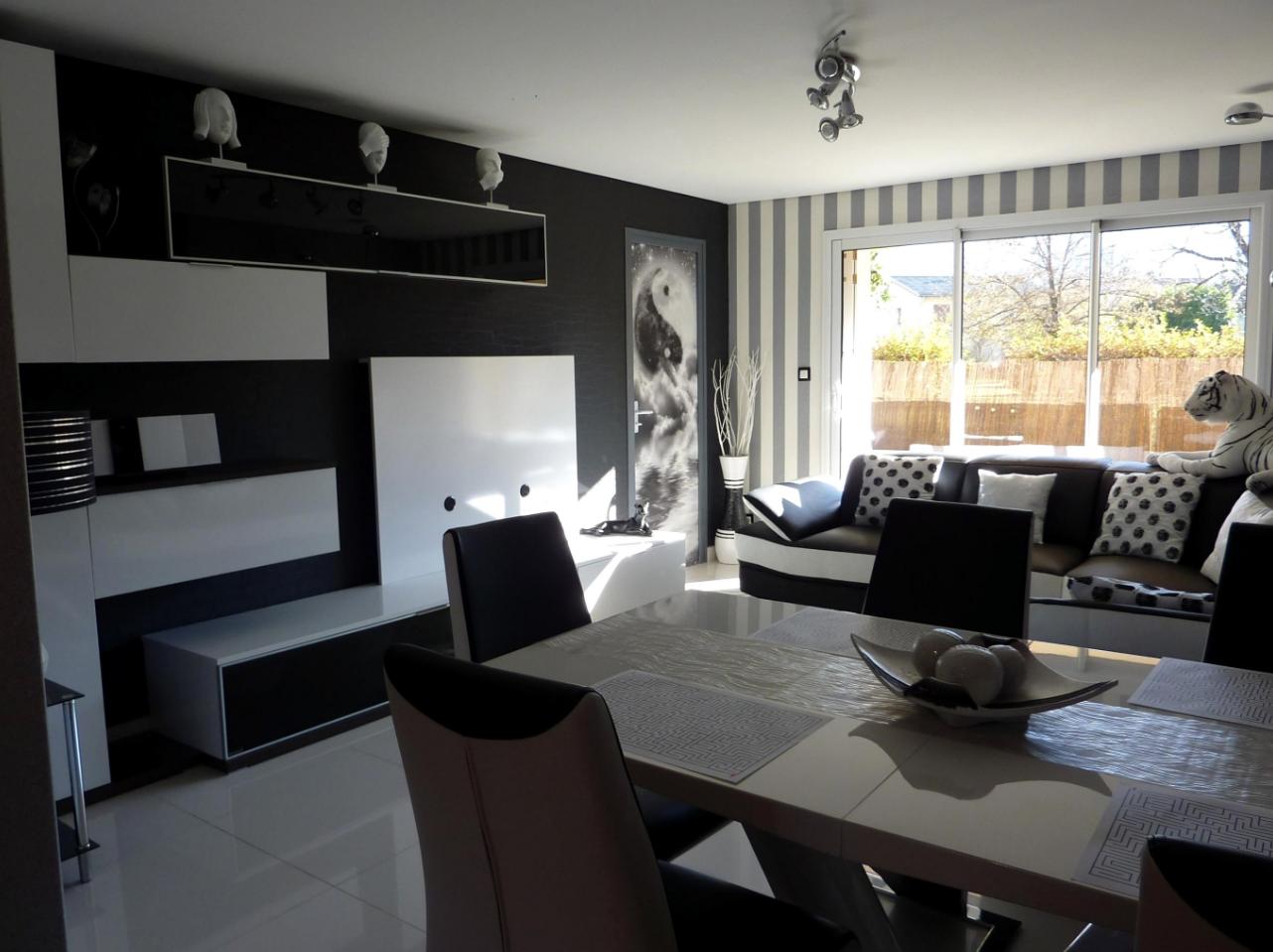 Idee Deco Salon Noir Et Blanc  Minimalist living room, Furniture