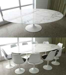 Exceptional Tulip Table Marble Carrera Oval 199cm Saarinen Style