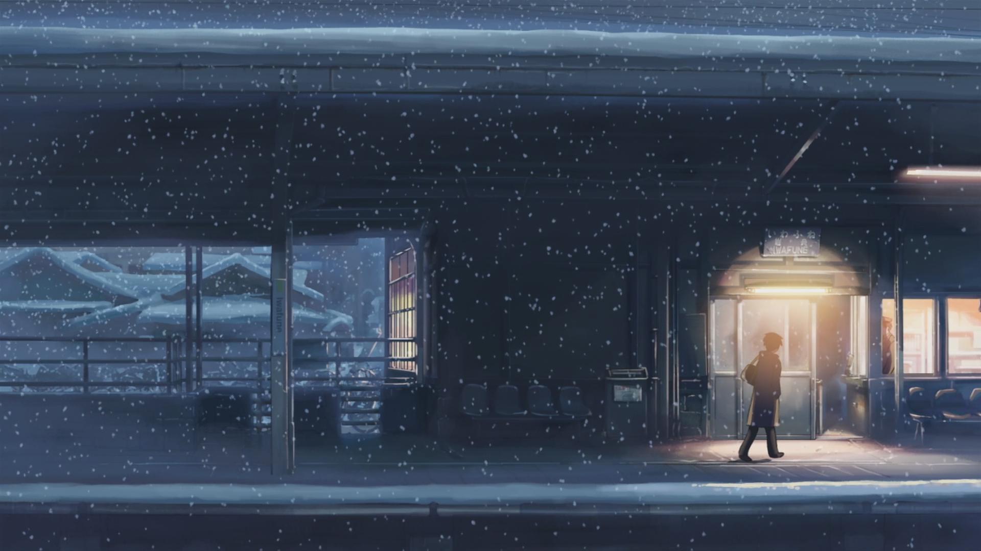 Snow 5 Centimeters Per Second Train Station Makoto Shinkai Anime Night Wallpaper