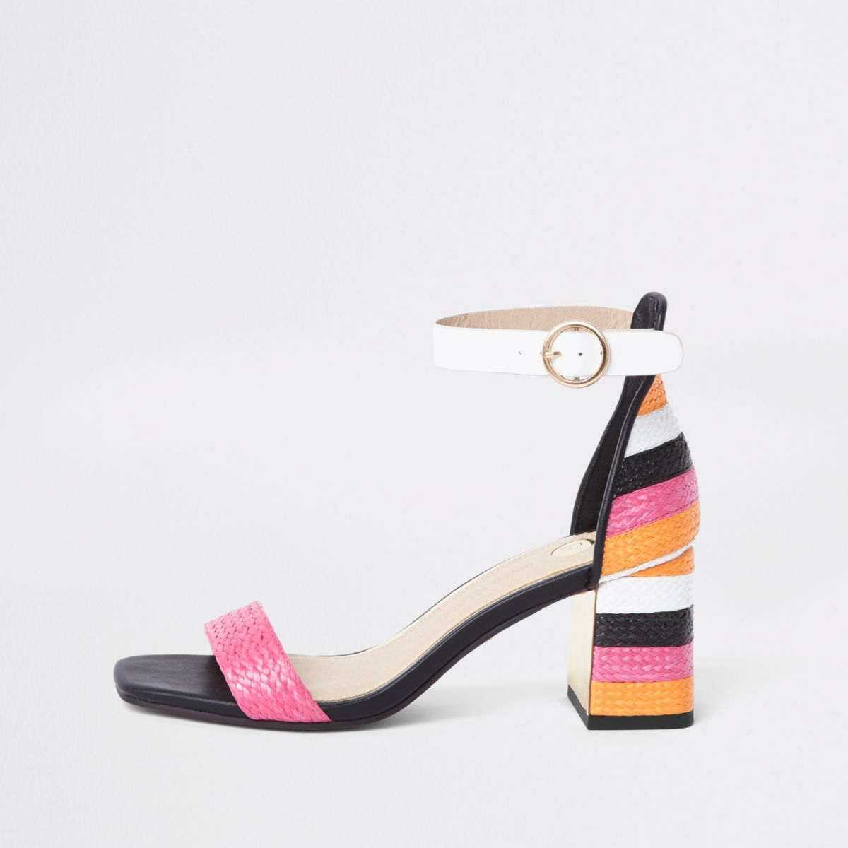 231bee8e5b1 Pink woven metallic block heel sandals - Sandals - Shoes   Boots - women