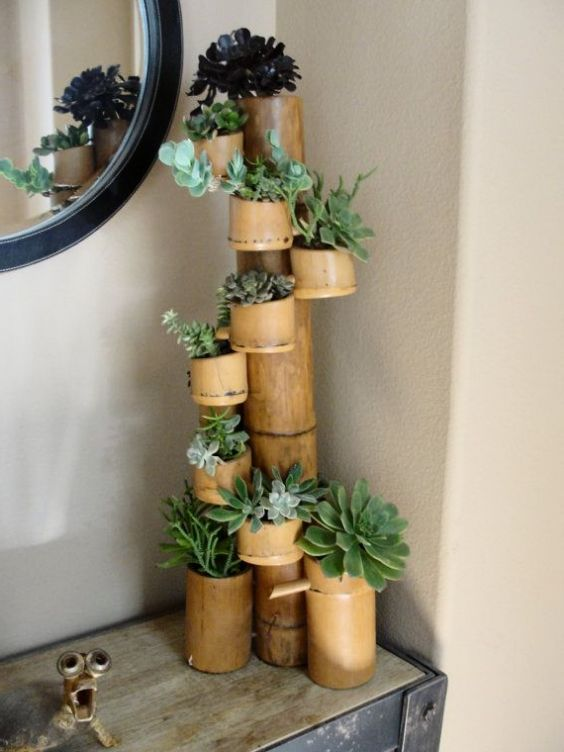 9 Kerajinan Tangan Dari Bambu Yang Mudah Dibuat Ide Berkebun Bambu Pot Bunga