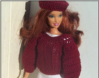 Barbie Clothes Outfit White Dress Wine Colored Sweater and Beret