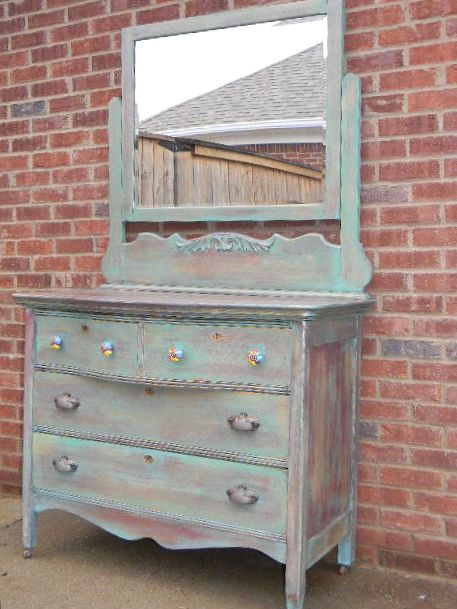 redone antique dresser... LOVE it, minus the colorful knobs on top - Redone Antique Dresser... LOVE It, Minus The Colorful Knobs On Top
