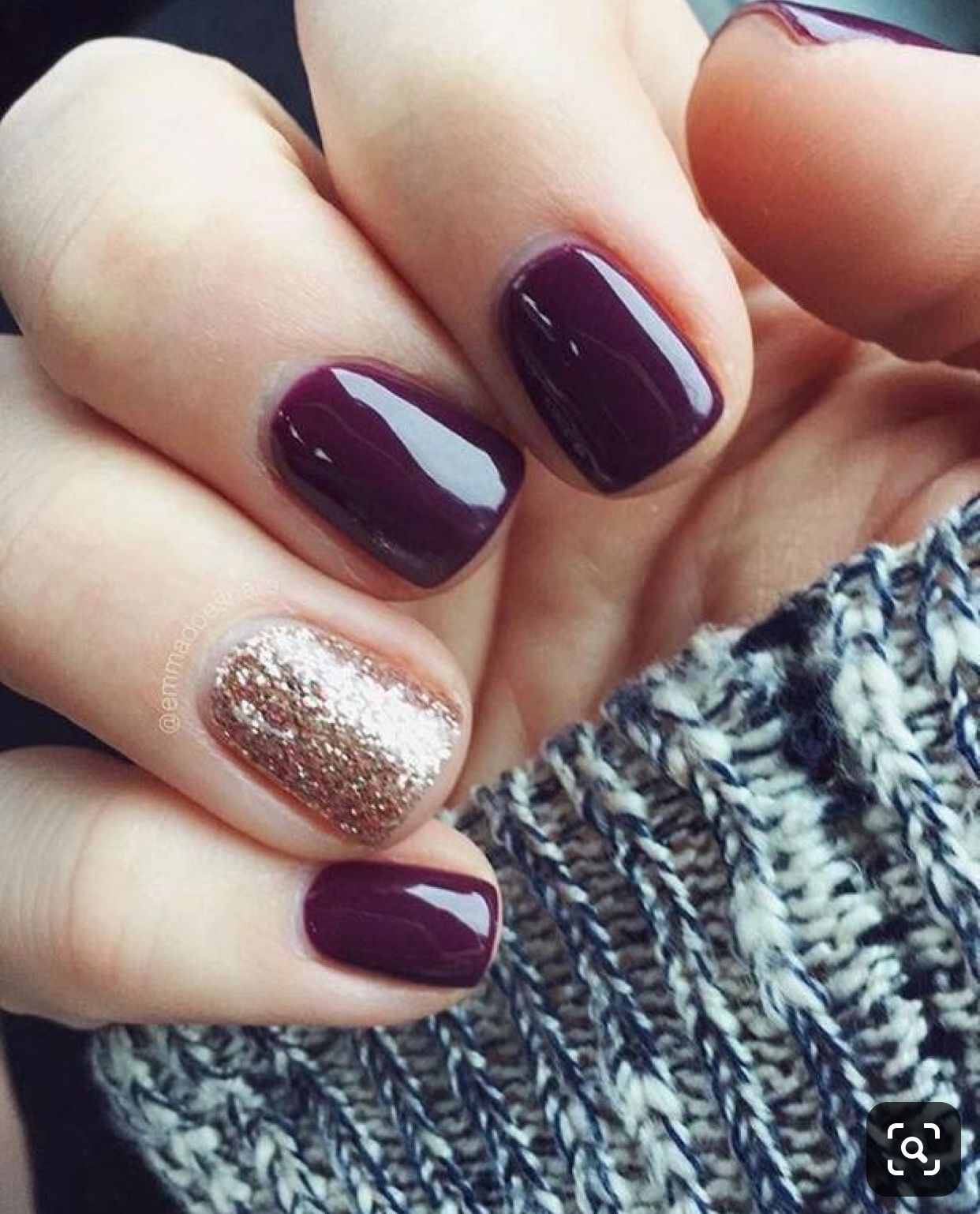 Fall Nails Burgundy And Gold In 2020 Simple Fall Nails Cute Nails For Fall Fall Acrylic Nails
