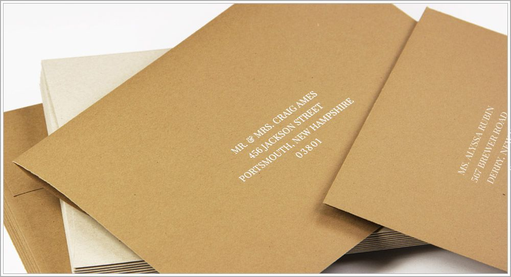 how to return address wedding envelopes%0A Matching kraft envelopes printed with white ink in Playfair Display font