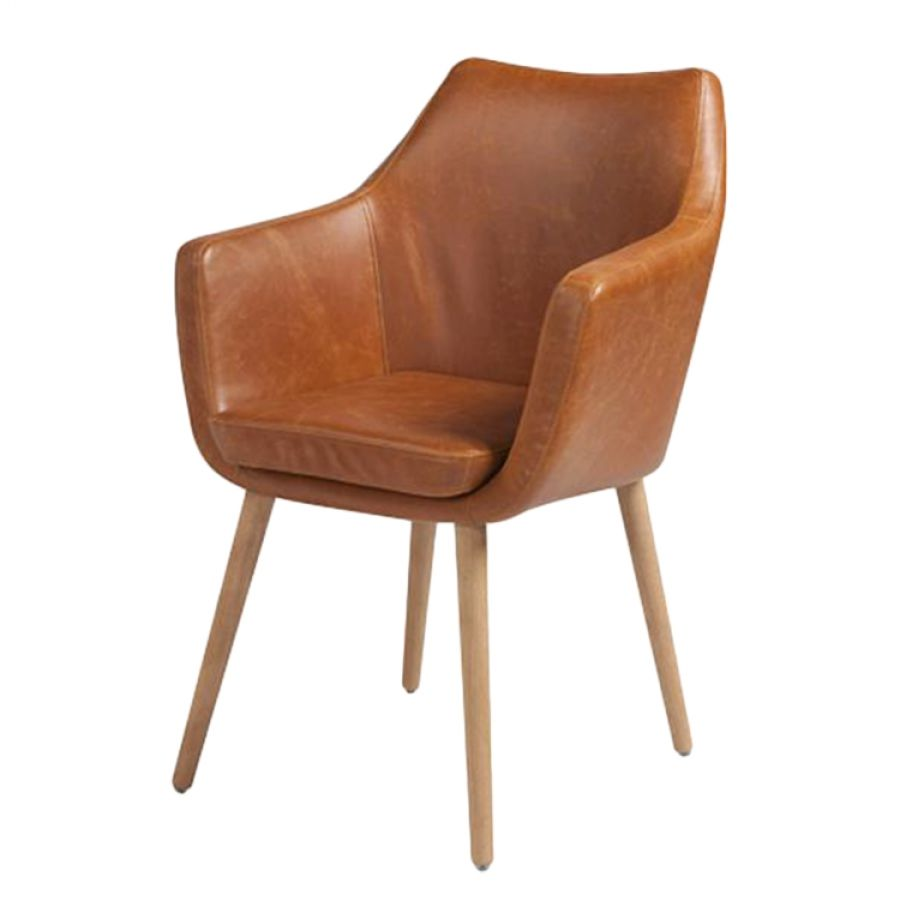 Armlehnenstuhl Nicholas In Braunem Kunstleder Home24 Stühle Esszimmerstühle Mit Armlehne Stuhl Leder