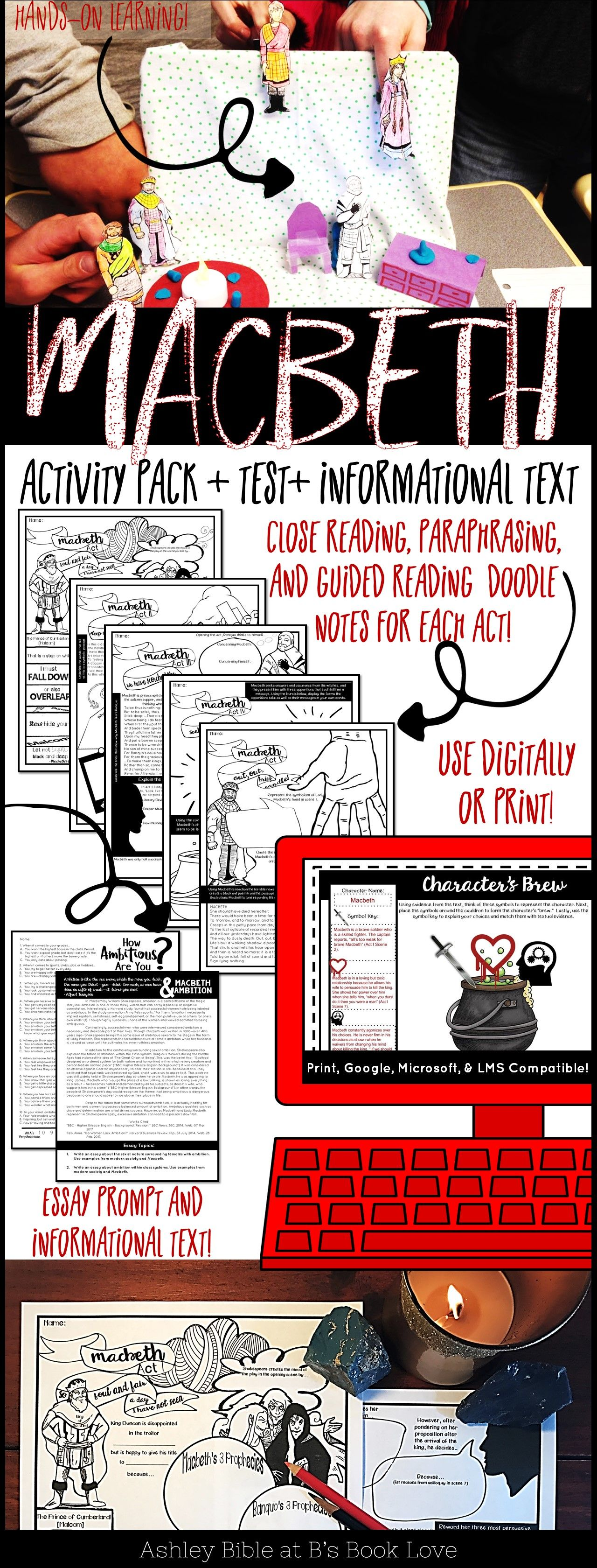 Macbeth Activity Pack Includes Interactive Notes Test And Informational Text