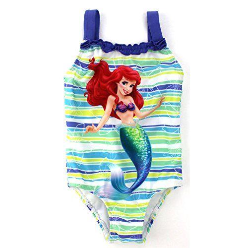 f406ee4574 Toddler Girl Little Mermaid Striped One Piece Swimsuit | Swimwear ...