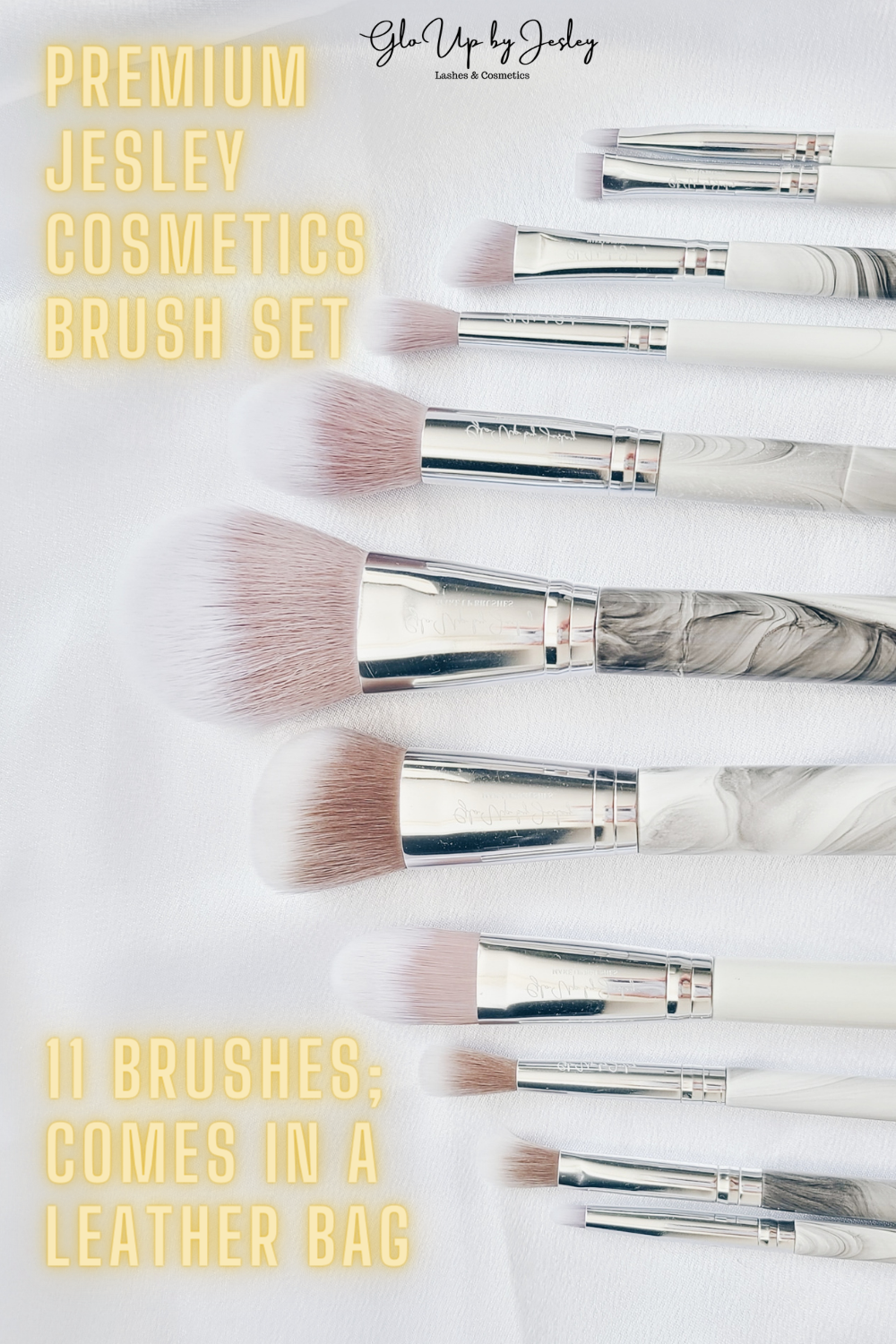 The Premium Jesley Makeup Brush Set comes with 11pcs of brushes & a vegan leather makeup brush bag. This is great for beginners and even for professional makeup artists. It has a luxurious look and feels with the marble handle designs and super soft bristles. 100% Vegan Add this to your collection by visiting our website! #makeup #makeupbrush #beauty #cosmetics