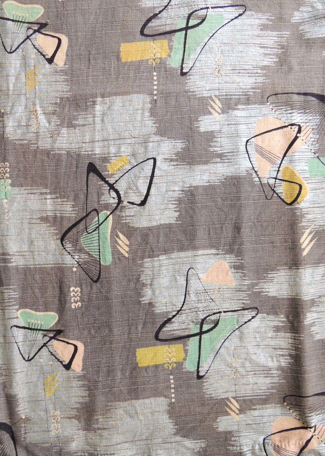 Details about 2 Panels Vintage 1950s Barkcloth Fabric BLUE