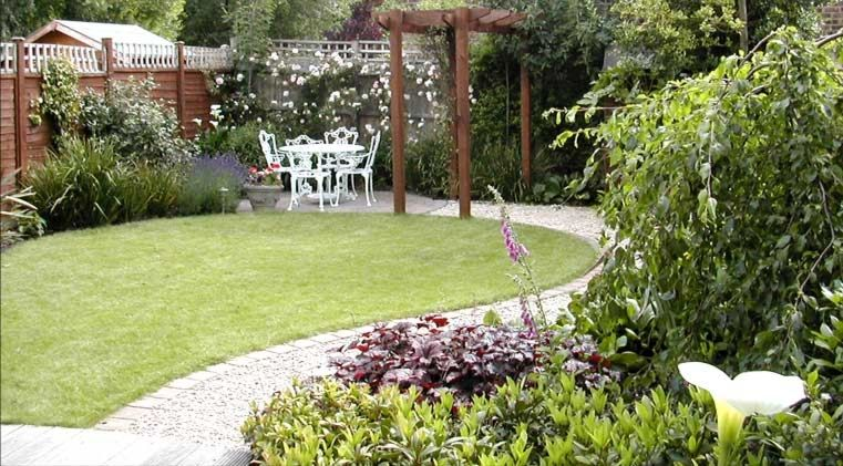 Garden designs small landscaping photos gardening for Small garden layout