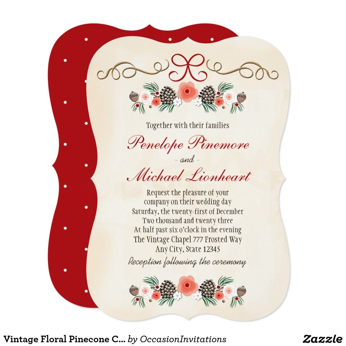 Vintage Floral Pinecone Christmas Wedding Card   Christmas Party ...