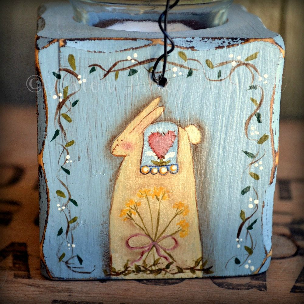 Hand Painted Wooden Votive Candle Holder Terrye French Spring Designs Saltbox House Sheep Primitive Doll Bunny. $20.00, via Etsy.