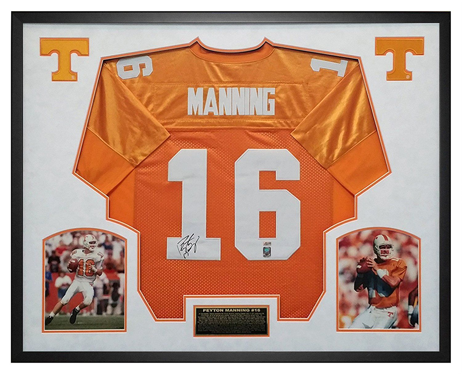 Peyton Manning Autographed Tennessee Jersey Framed in ...  Mounted