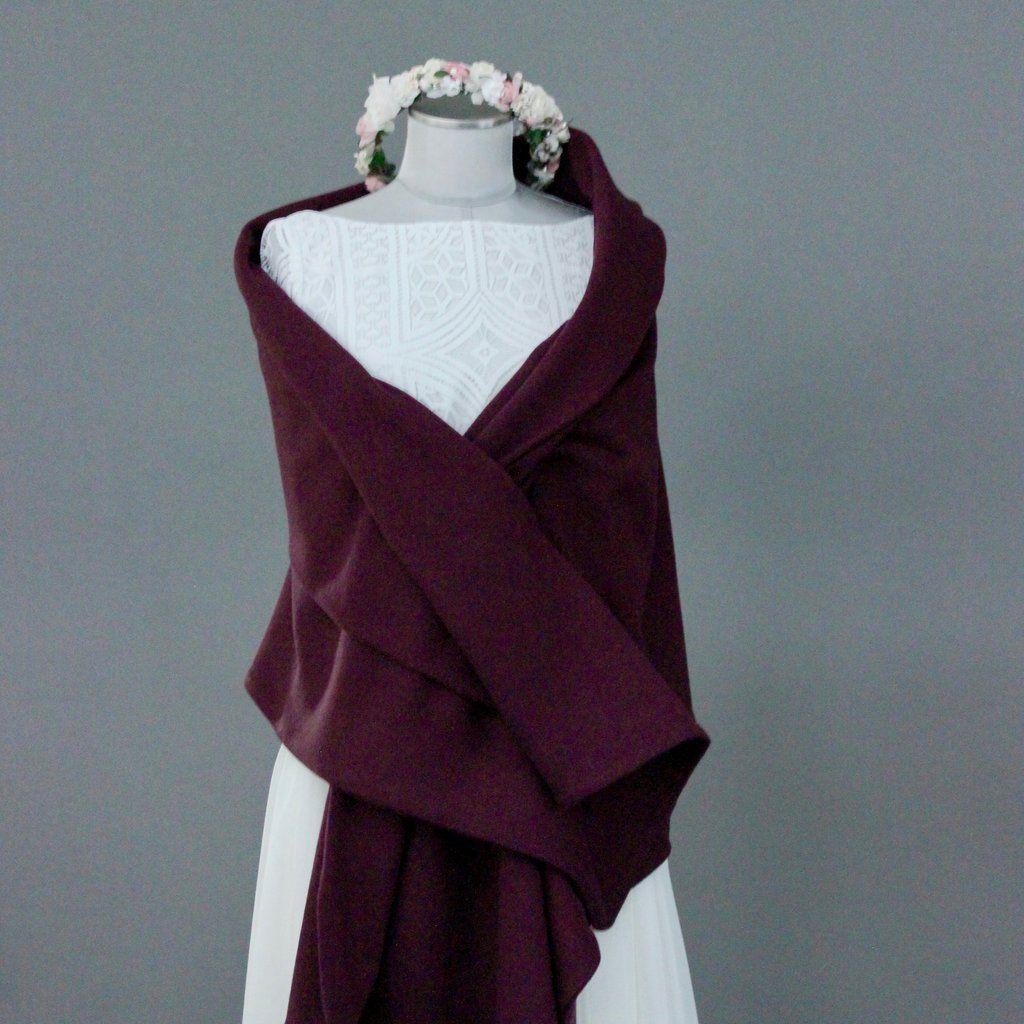 Brautstola, Schal in Bordeaux Rot  Braut stola, Rote