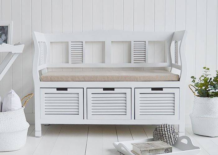 Swell Rhode Island White Storage Seat Bench With Three Drawers And Ncnpc Chair Design For Home Ncnpcorg