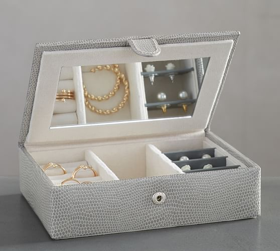 Personalized Mckenna Leather Travel Jewelry Box Pottery