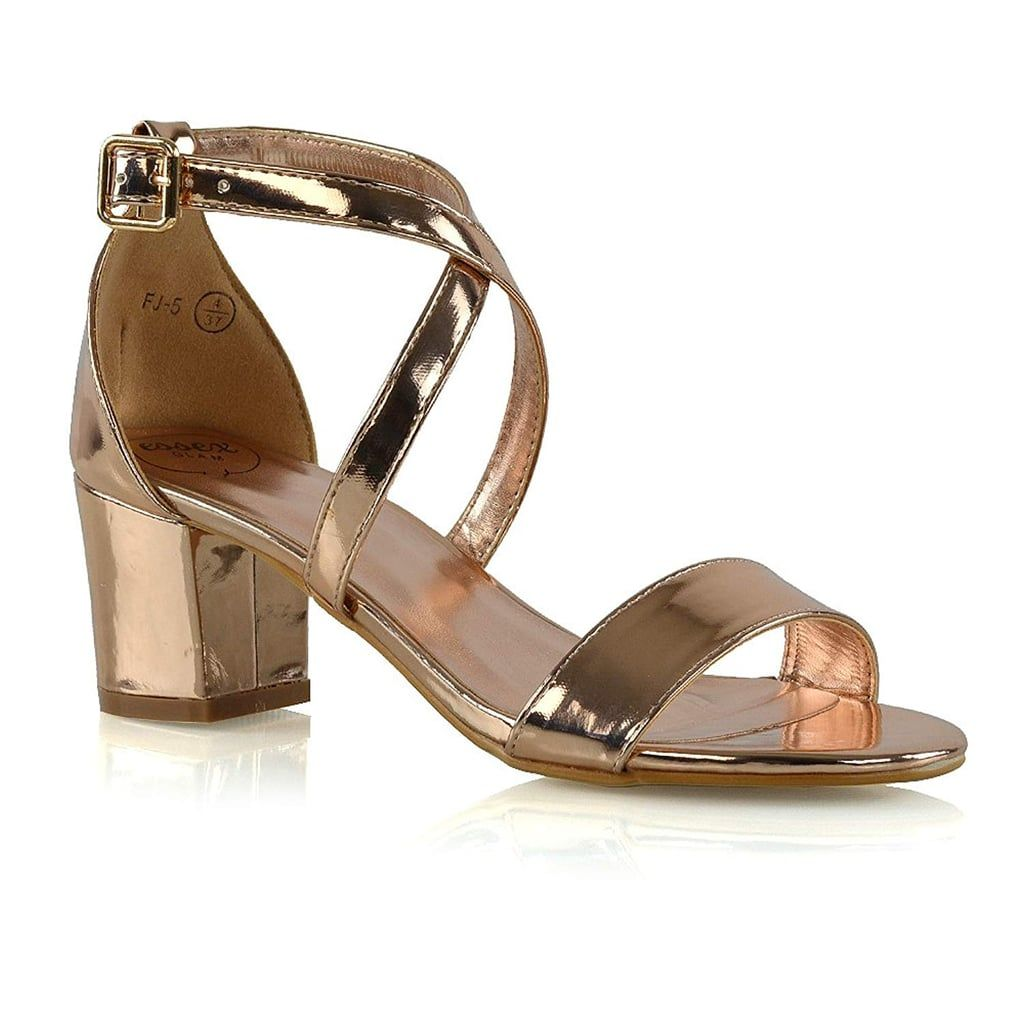 e57056f710e1 Essex Glam Womens Low Heels Strappy Block Heel Ankle Strap Evening Sandals