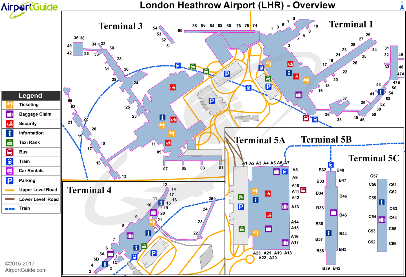 Lhr Terminal Map London   London Heathrow (LHR) Airport Terminal Map   Overview