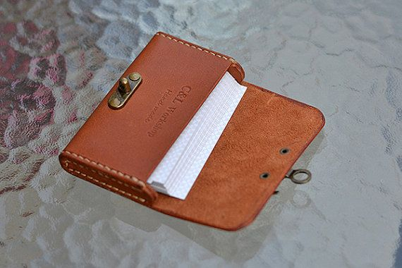 Business Card Case Leather Credit Card Holder Coin Wallet By Handmade Brown Unique Gift In 2021 Leather Business Card Holder Leather Business Cards Leather Card Case