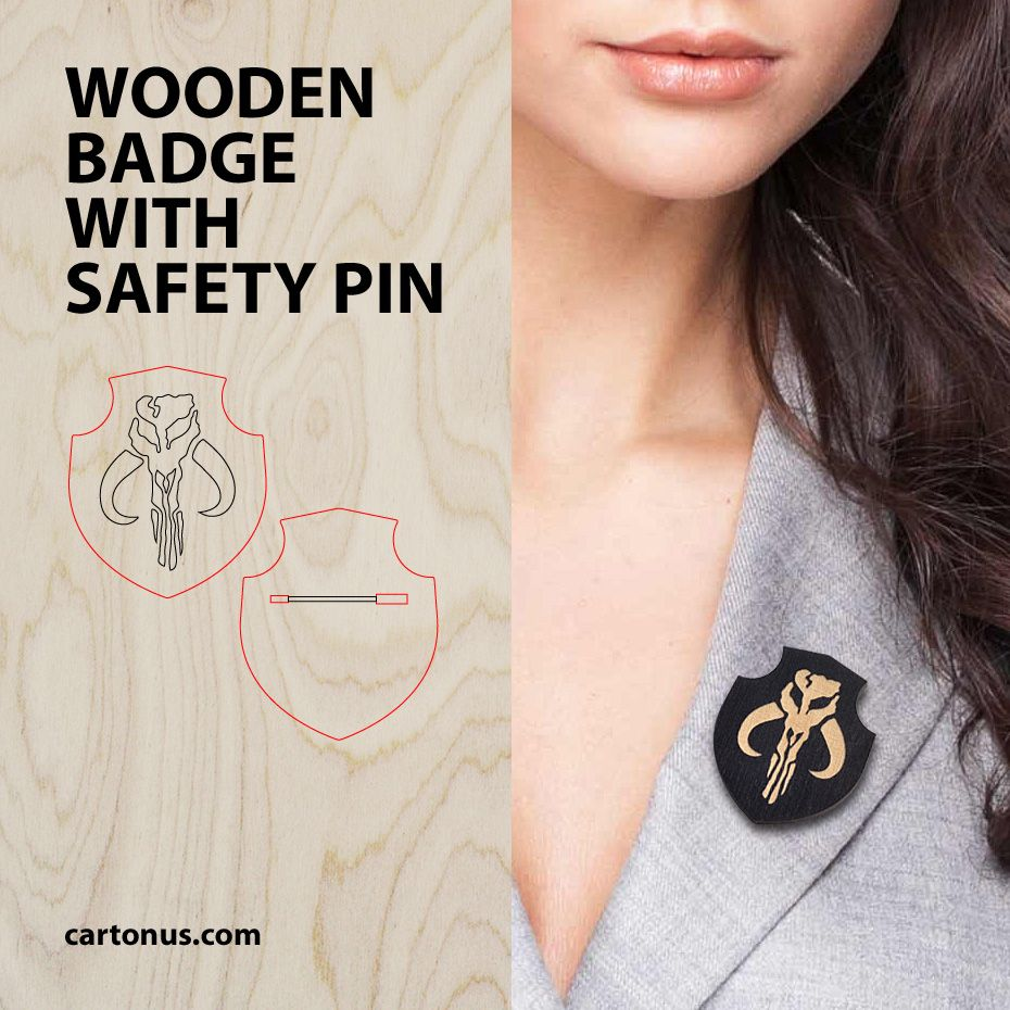Wooden badge with safety pin. Free project plan. Download