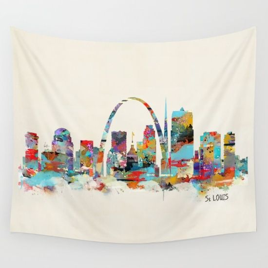St Louis Missouri Colorful Watercolor Skyline Lt Br X2f Gt Lt Br X2f Gt Stainr Louis Missouri Saint Louis Misso Tapestry Wall Tapestry St Louis Missouri