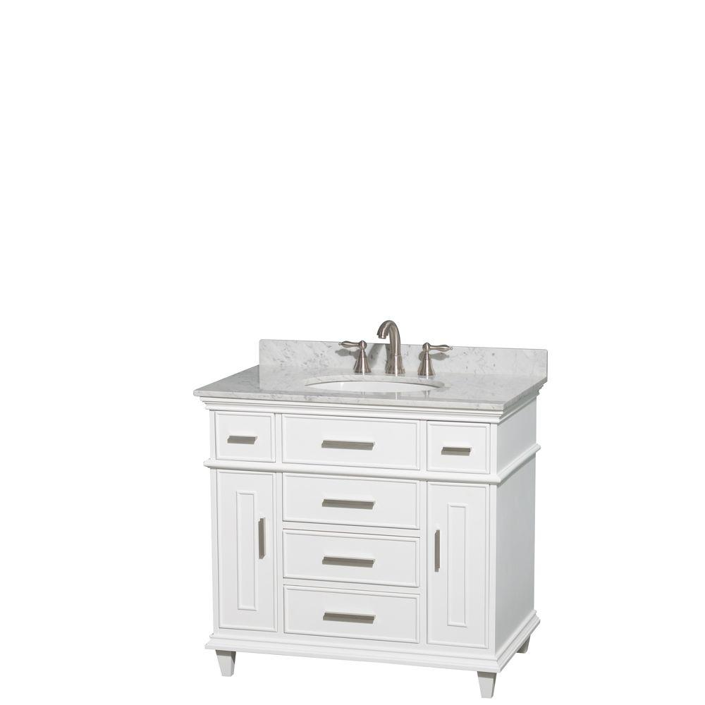 Abbey 36 Inch Vanity With Carrara Marble Top Bathroom Vanity 36 Inch Vanity Vanity Cabinet