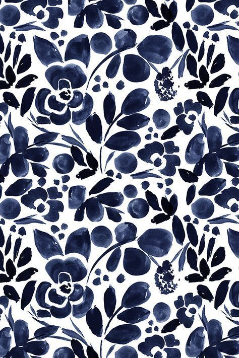 Colorful fabrics digitally printed by Spoonflower - Navy Floral