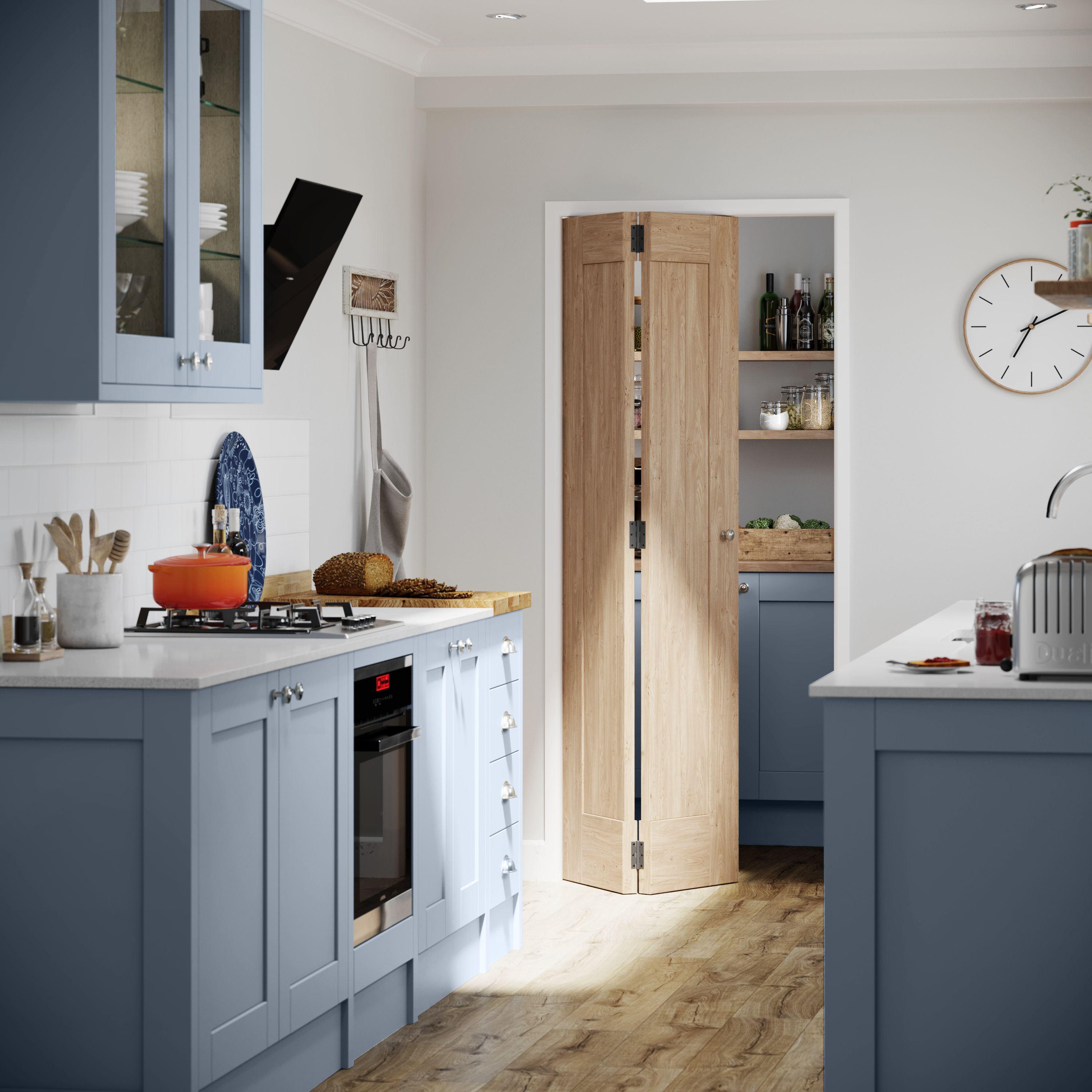 A Modern Bright And Airy Kitchen With Wooden Details: Inspired By Costal Living, Our NEW Fairford Blue Kitchen