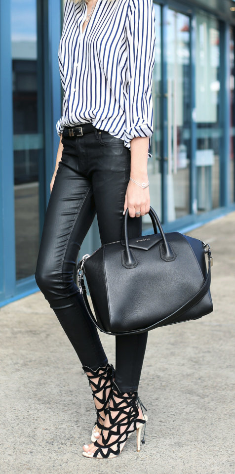 fff1bb6357e4d Love everything about this outfit Black Leather Leggings, Black Leather  Tote Bag, Leather Pants