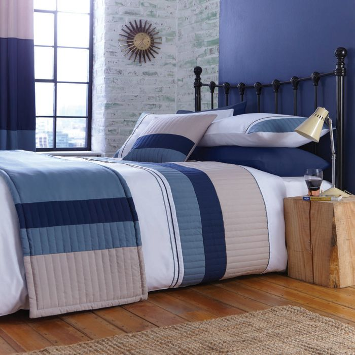 New York Bedlinen In Navy Available Now With Co Ordinating Curtains Runner Cushion Striped Beddingnavy Blue