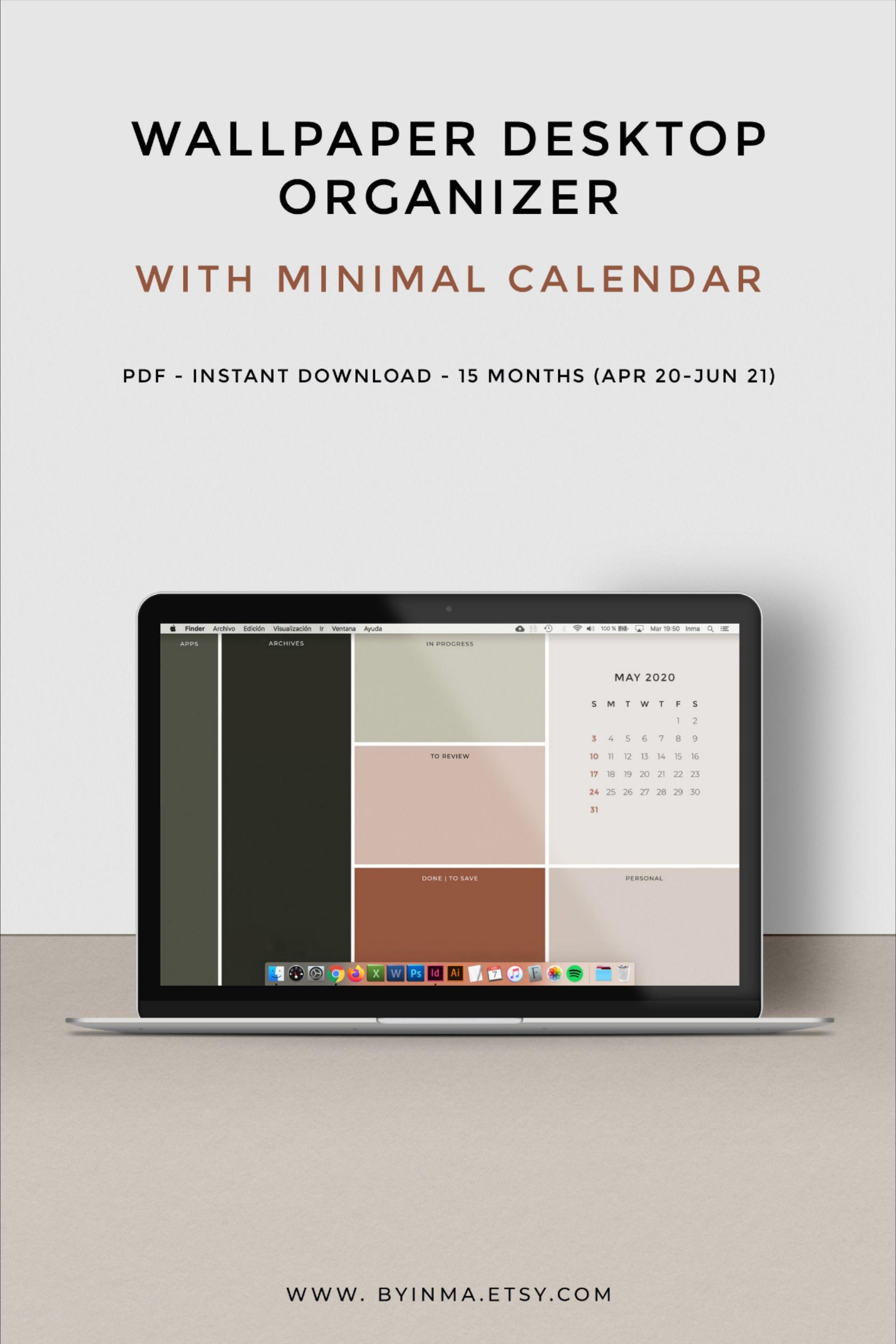 Desktop Wallpaper Organizer With 2021 2022 Calendar Minimalist Desktop Background Digital Download 16 9 Ratio And 16 10 Ratio Desktop Wallpaper Organizer Desktop Organization Desktop