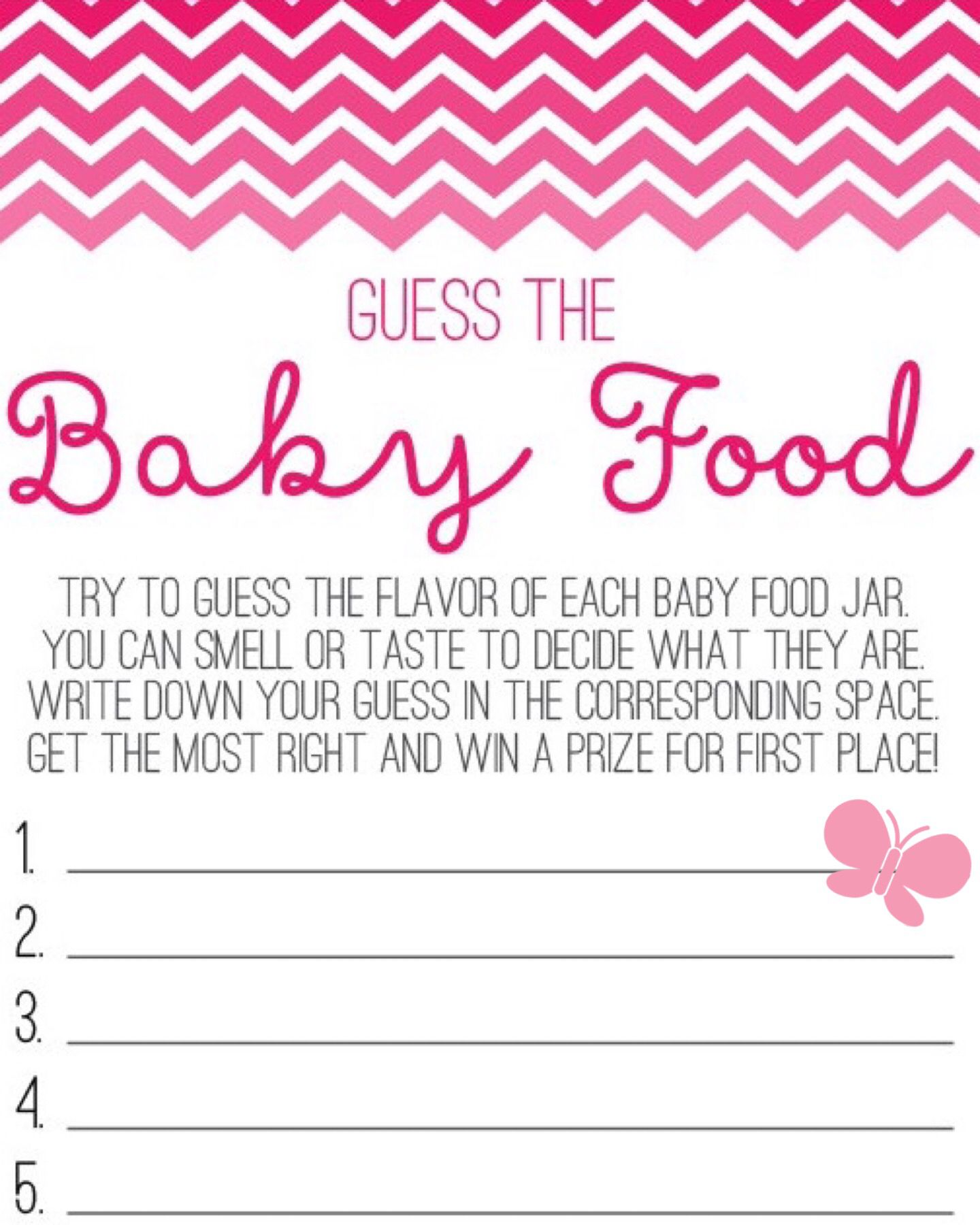 Butterfly guess the baby food game sheet Baby shower